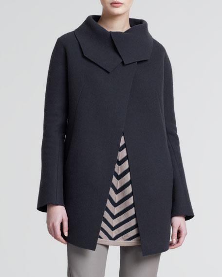 Raw-Cut Wool-Cashmere Coat, Dark Brown
