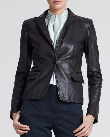 Grained Leather Blazer, Brown