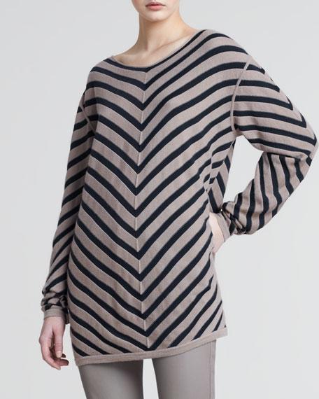 Chevron Striped Tunic Sweater