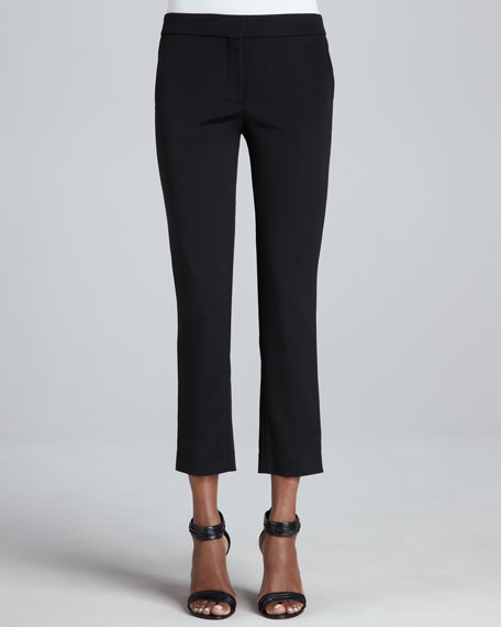 Front-Closure Slim Ankle Pants, Black