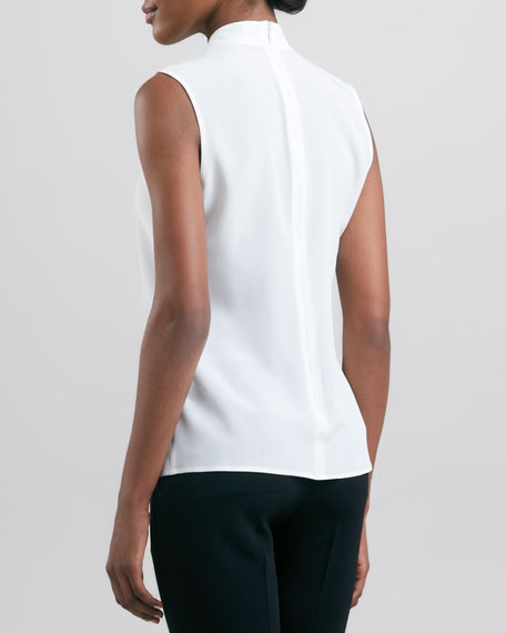 Silk Sleeveless Knotted Blouse, Ivory