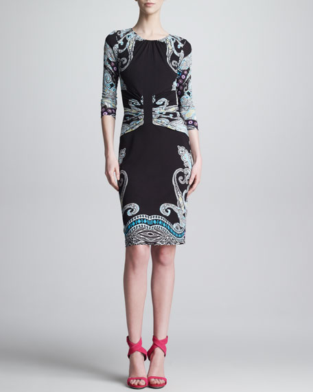 Gathered Round-Neck Paisley Dress, Black