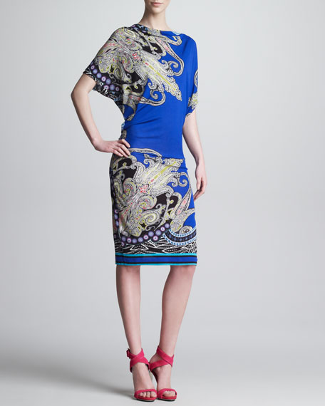 Draped Paisley-Print Dress, Royal/Multi