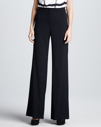 Back-Buckle Wide-Leg Pants, Dark Blue