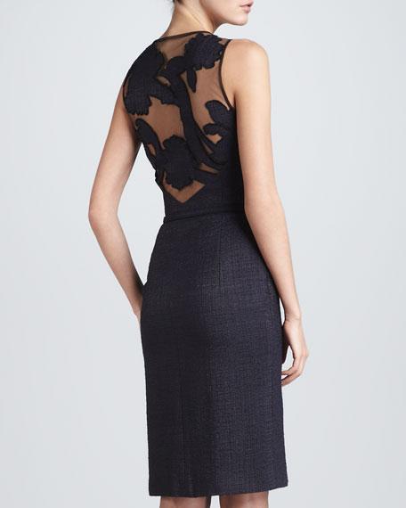 Cutout-Back Woven Tweed Dress, Dark Blue
