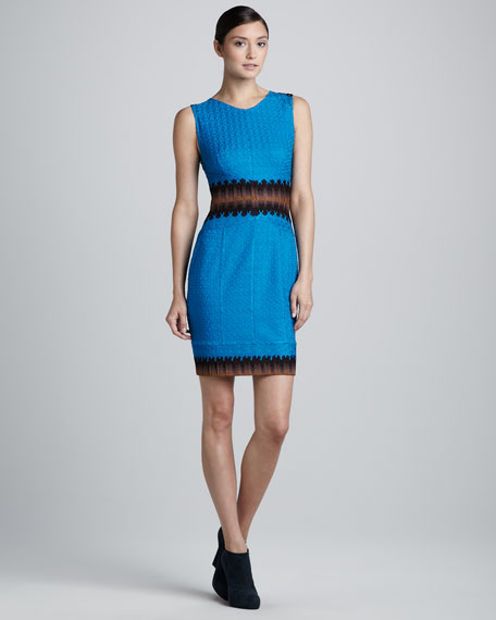 Mixed-Lace Scoop-Neck Sleeveless Sheath Dress, Turquoise