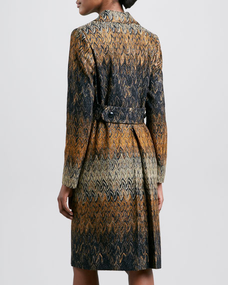 Double-Breasted Zigzag Coat, Black/Gold