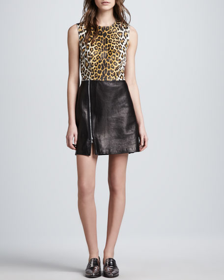 Leopard-Print Leather Combo Dress