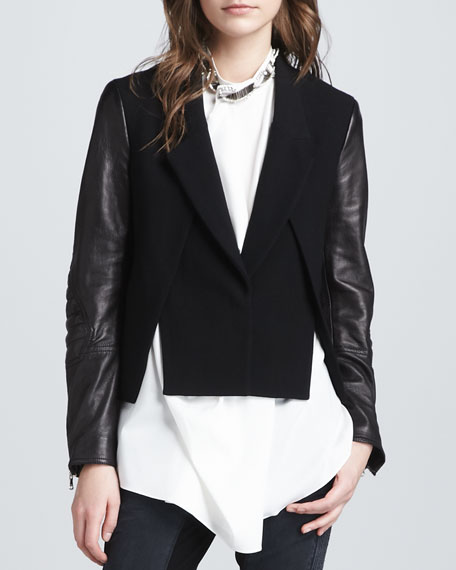 Cross-Front Leather-Sleeve Jacket, Black