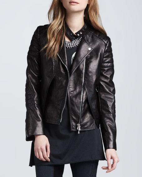 Lambskin Leather Biker Jacket, Charcoal