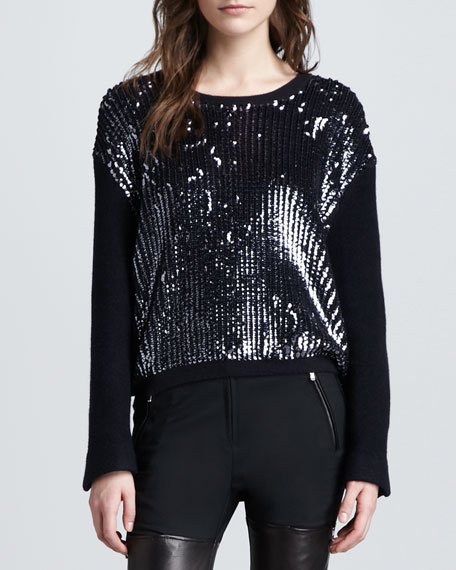 Sequined Wool Pullover Sweater, Charcoal