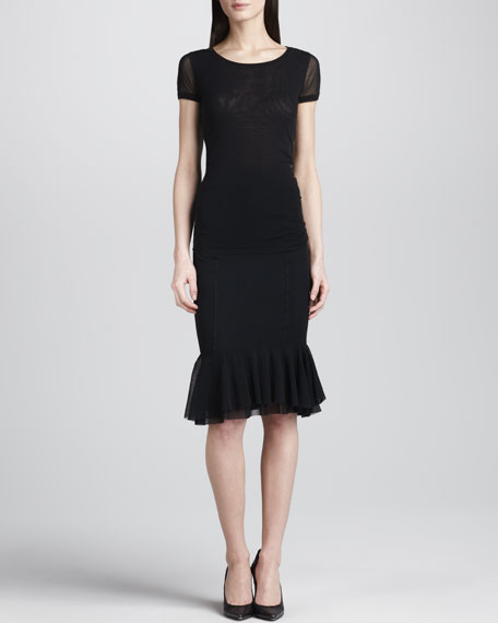 Pencil Skirt with Ruffled Hem, Black