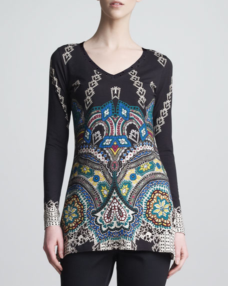 Fitted Symmetric-Print Long-Sleeve Tee, Black