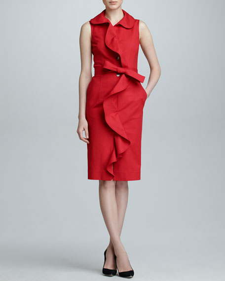 Sleeveless Ruffle-Front Dress, Mercury Red