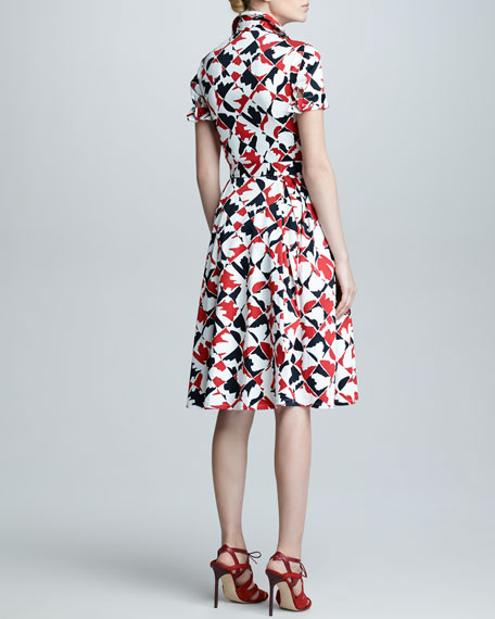 Diamond-Print Short-Sleeve Dress, Red/Black/White