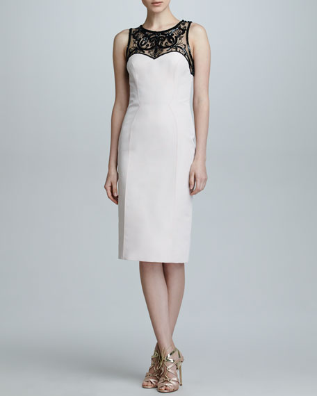 Sequined-Yoke Silk Faille Dress, Sunset Pink