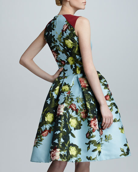 Floral Jacquard Full-Skirt Dress, Sky/Multicolor
