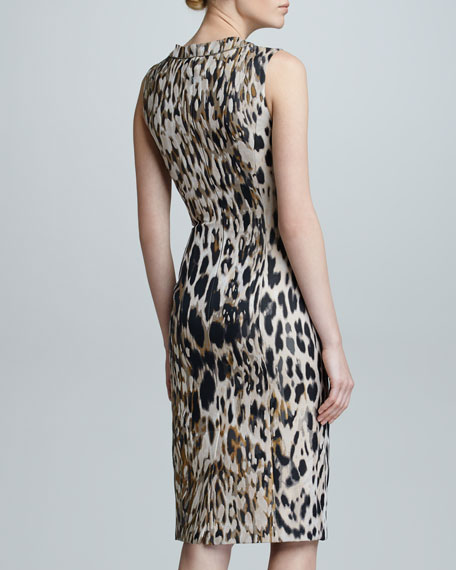 Animal Jacquard Sleeveless Sheath Dress