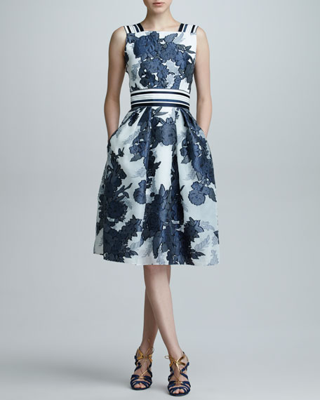 Floral Jacquard Organza Dress, Blue