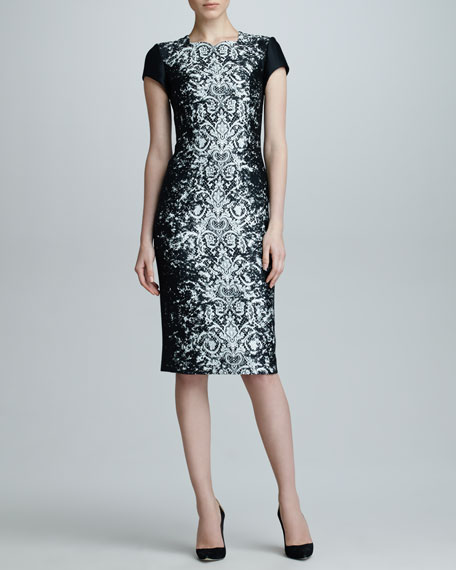 Abstract Lace Jacquard Dress, Black/Off-White