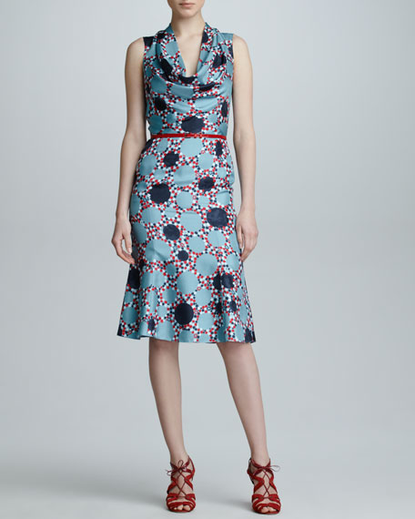 Printed Silk Cowl-Neck Dress, Celestial Blue/Red