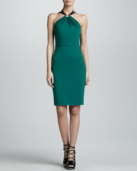 Halter Sheath Dress, Emerald