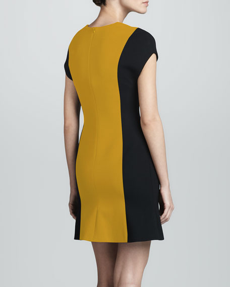 Colorblock Wool Crepe Dress, Gold/Black