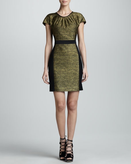 Metallic Melange Cap-Sleeve Dress, Gold/Black