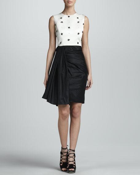 Beaded Sleeveless Combo Dress, Ivory/Black