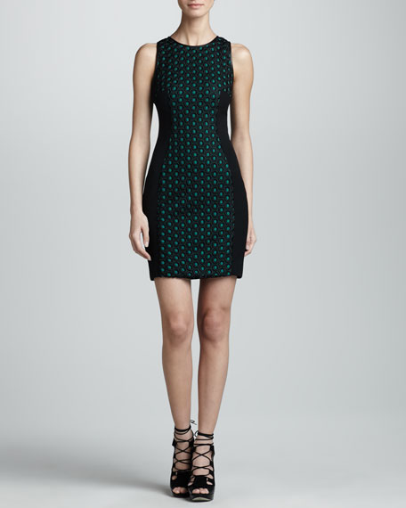 Eyelet Front Sheath Dress, Black/Emerald