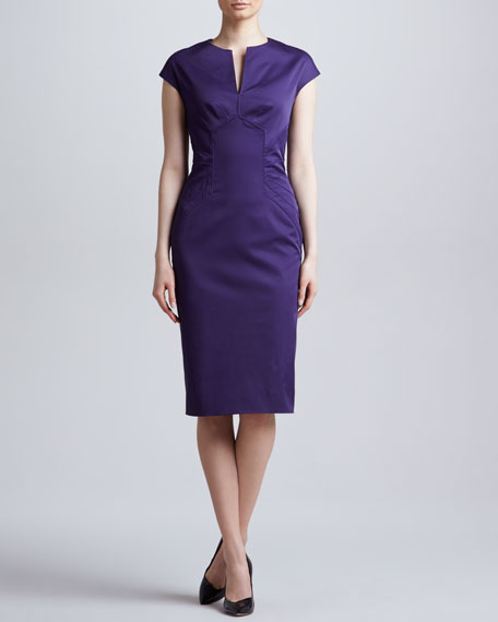 Slit-Front Seamed Dress, Amethyst