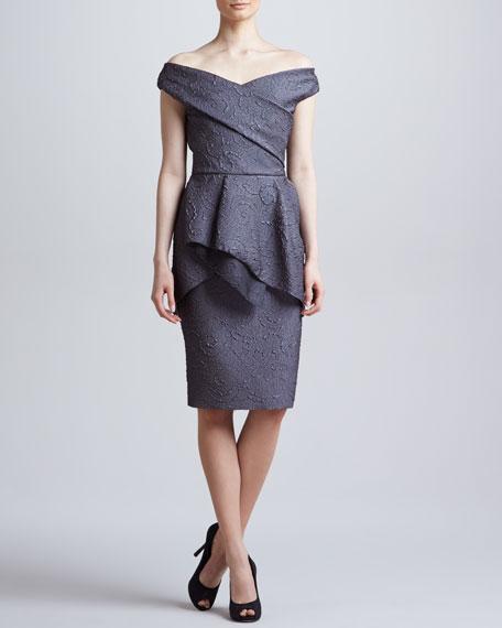 Off-the-Shoulder Flounce Dress, Charcoal