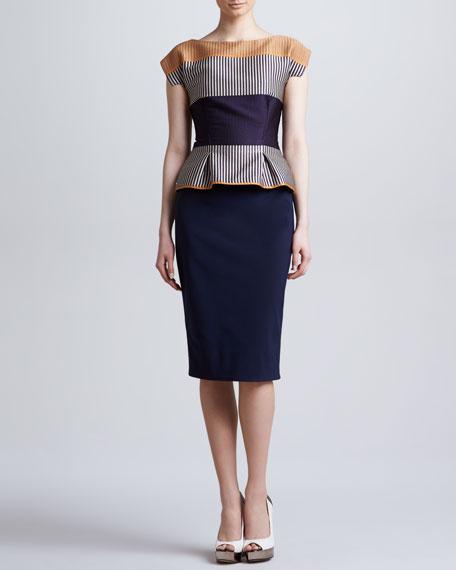 Cap-Sleeve Colorblock Peplum Dress