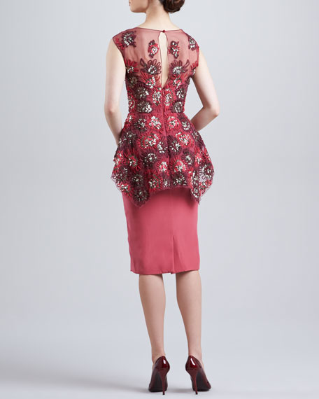 Embroidered Peplum Dress