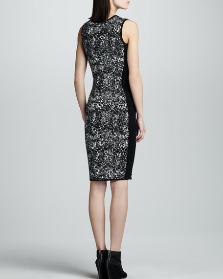 Sleeveless Jacquard Sheath Dress, Black/White