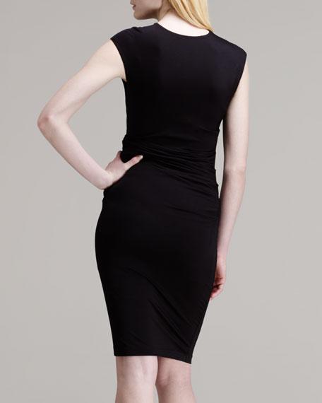 Twist-Front Pique Dress