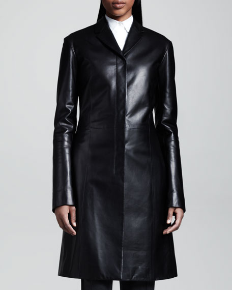 Mid-Length Leather Coat