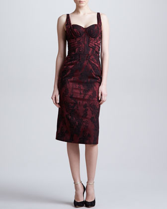 Sleeveless Jacquard Sweetheart Dress, Burgundy