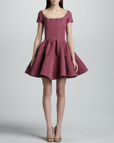 Short-Sleeve Fit-And Flare Dress, Orchid