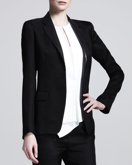 Leather-Collar Open Blazer