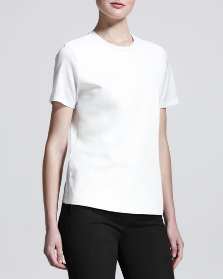 Leather-Front Cotton T-Shirt