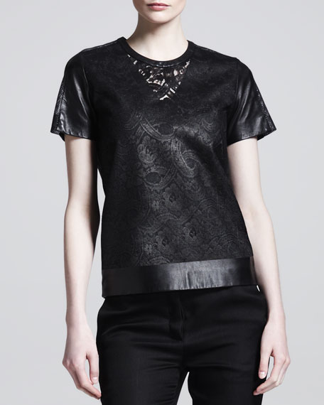 Lace & Leather T-Shirt