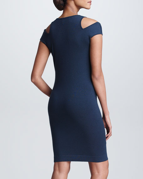 Draped Cashmere Cold-Shoulder Dress, Slate Blue
