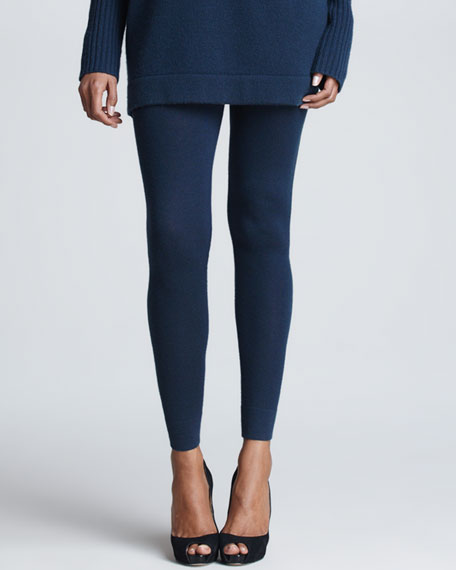 Stretch-Cashmere Jersey Leggings, Slate Blue