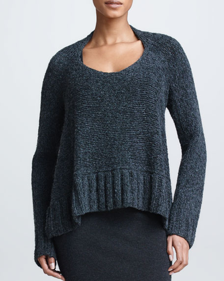 Cropped Trapeze Sweater, Charcoal