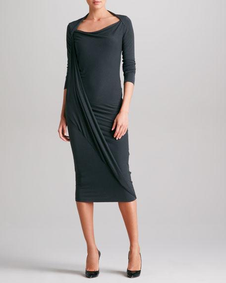 Long-Sleeve Asymmetric-Drape Dress, Asphalt