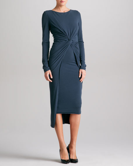 Knotted Drape Jersey Dress, Slate Blue