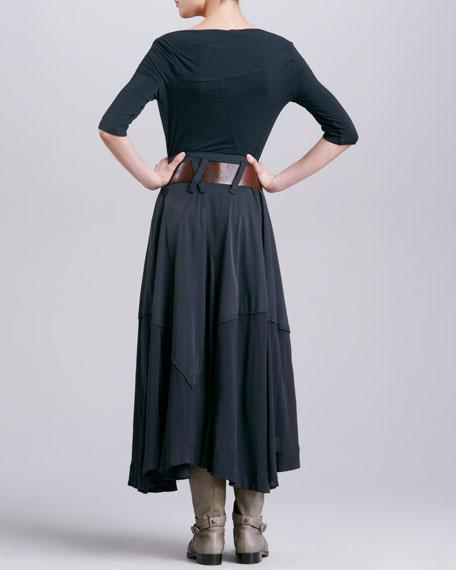 Paneled A-Line Skirt, Asphalt