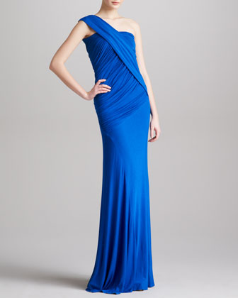 Draped Ruched One-Shoulder Gown, Electric Blue
