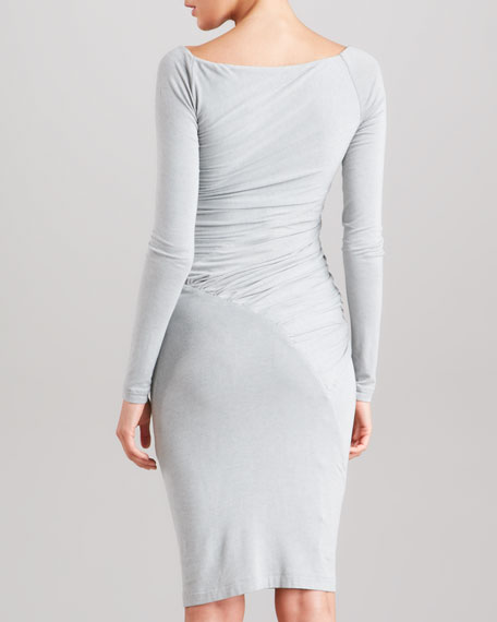 Draped Long-Sleeve Jersey Dress, Cement
